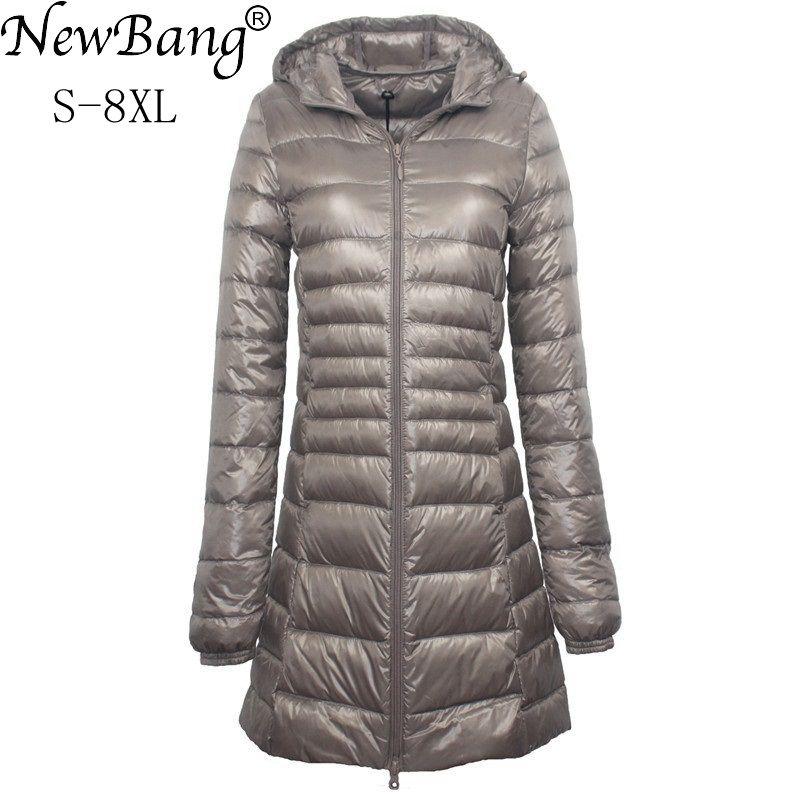 NewBang 7XL 8XL Plus Long Down Jacket Women Winter Ultra Light Down Jacket Women With Hooded Down Co