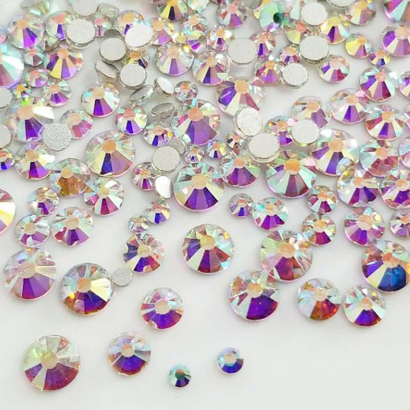 Envío Gratis 300 Uds Mix SS4-SS16 tamaño blanco AB vidrio plano sin HotFix cristal 3D Nail Art Rhinestone decoraciones diy