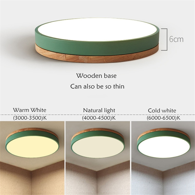Modern Macaron LED Ceiling Light Super Thin 6cm Solid Wood Remote Dimming Ceiling Lamp For Living Room Bedroom Kitchen Lighting  - buy with discount