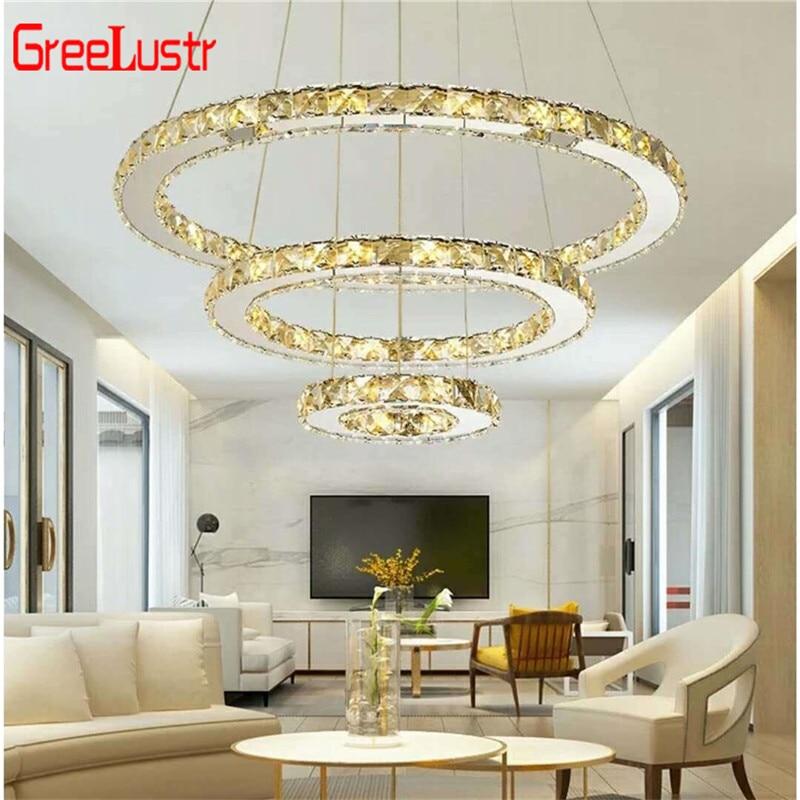 Moderno 3 anéis de cristal led luzes do candelabro iluminação para casa cromo lustre lustres teto luminárias para sala estar