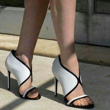 Sestito 2018 damas Sexy frente V Color mixto verano Sandalias Mujer cremallera trasera cubierta tacones altos vestido zapatos niñas Peep Toe zapatos