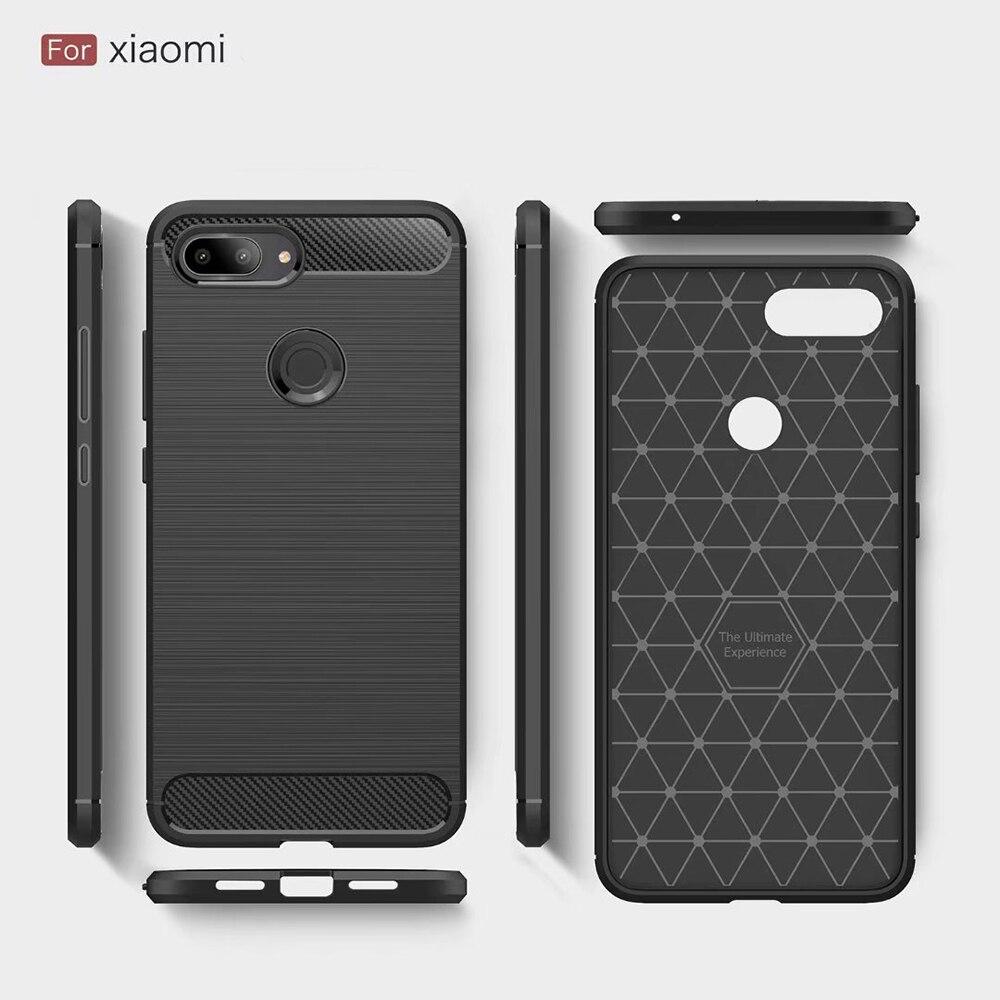 For Xiaomi Mi 8 Case Mi 8 SE Cover Carbon Fiber Shockproof Case for Xiaomi mi8 lite MAX 3 Soft Silic
