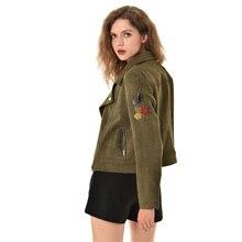 2019 New Elegant Women Autumn Zipper Basic Suede Jacket Coat Floral Appliques Jacket Women Outwear B