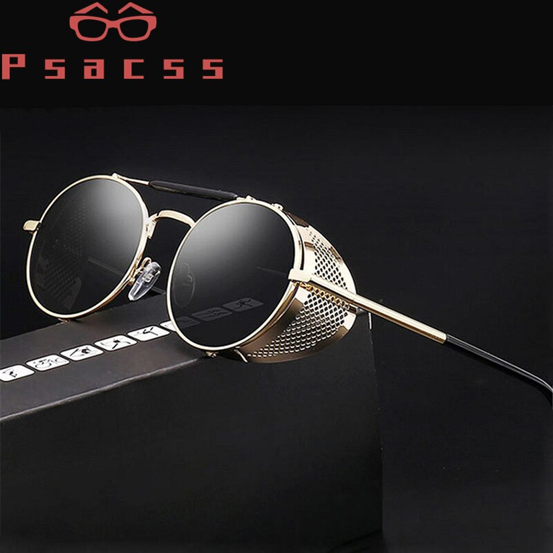 Psacss NEW Round Steampunk Sunglasses Women Men Metal Frame Vintage Brand Designer Women's Retro Sun Glasses High Quality  UV400