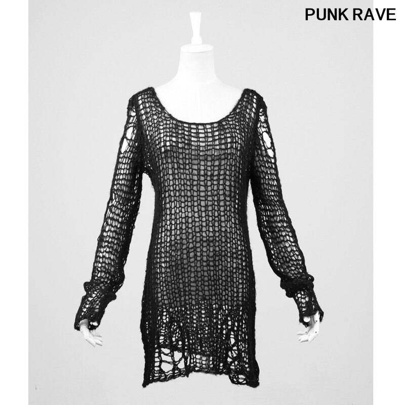 Gothic Visual Kei big mesh women SWEATER Steampunk street pullover fashion Kera Black white red stripe SWEATER Punk Rave PM-004