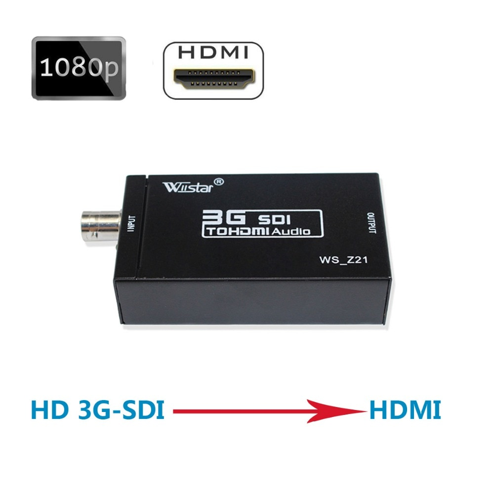 Wiistar SDI إلى HDMI ، 3G-SDI ، HD-SDI إلى HDMI UHD 1080P محول رقمي ، نقل الصوت والفيديو متزامن