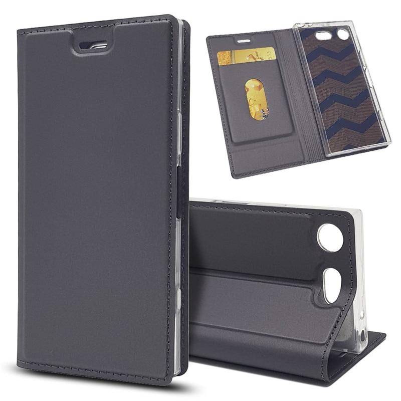 Funda de teléfono de negocios Bosilang tipo libro de cuero PU con ranura para tarjeta simple con soporte para Sony Xperia XZ1 Compact