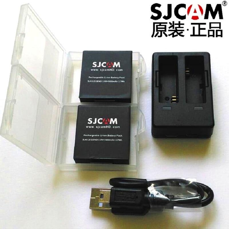 Аксессуары для SJCAM 2 шт., Оригинальные аккумуляторы SJ6, перезаряжаемые батареи + двойное зарядное устройство + чехол для аккумулятора для спор...