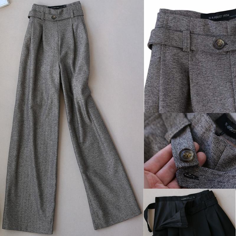 Autuwinter-بنطلون من الصوف السميك للنساء ، بنطلون أنيق بأرجل واسعة ودافئ ، خصر مرتفع ، ملابس مكتب