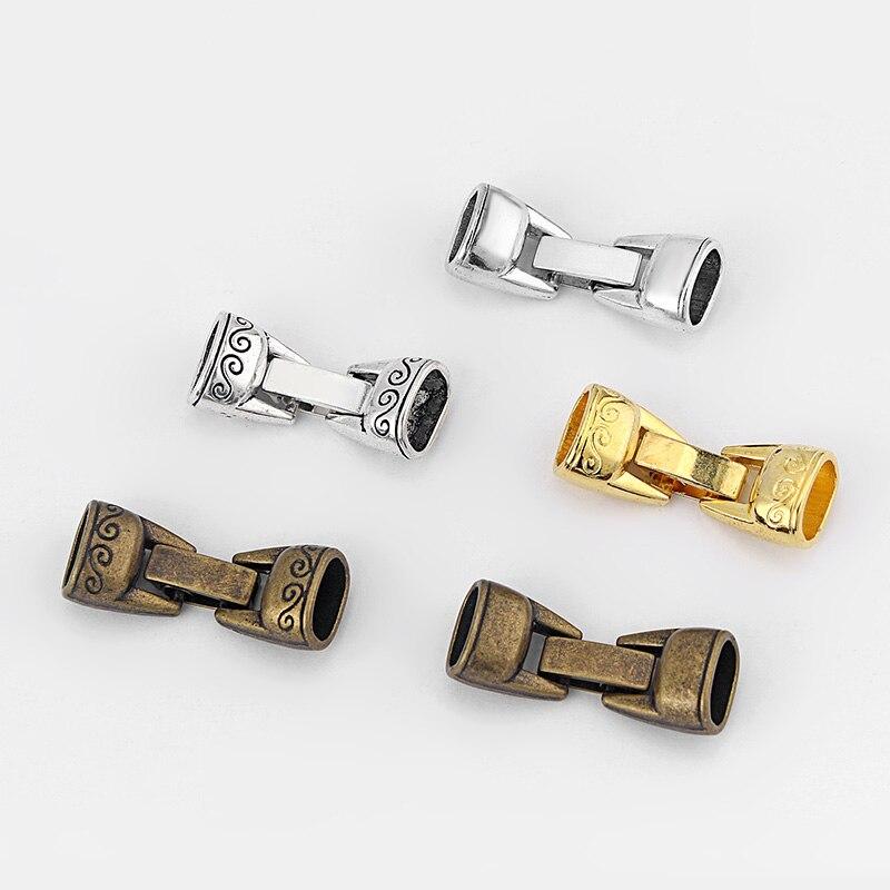 5sets tibetano de plata/bronce/oro Cierre de presión para 10X6mm Cable de piel de tipo regaliz pulsera y brazalete de joyería accesorios Material