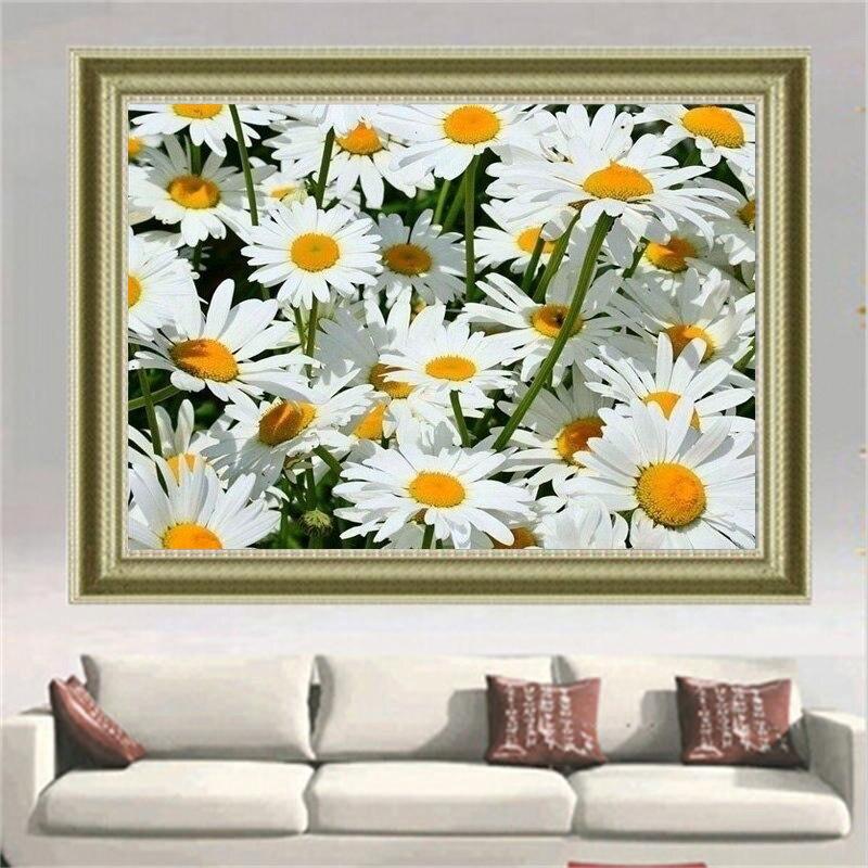 Pintura de bordado de diamantes con flores de margaritas blancas 5D, pintura de costura DIY de diamantes con flores, mosaico completo de cristal redondo para decoración del hogar