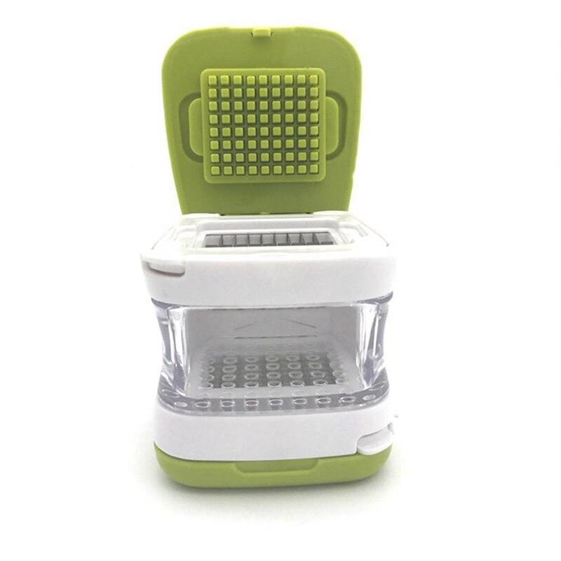 Rallador prensador de Prensa de ajo de plástico para cortar en cubitos y almacenar fruta de cocina vegetal Herramientas 2 en 1
