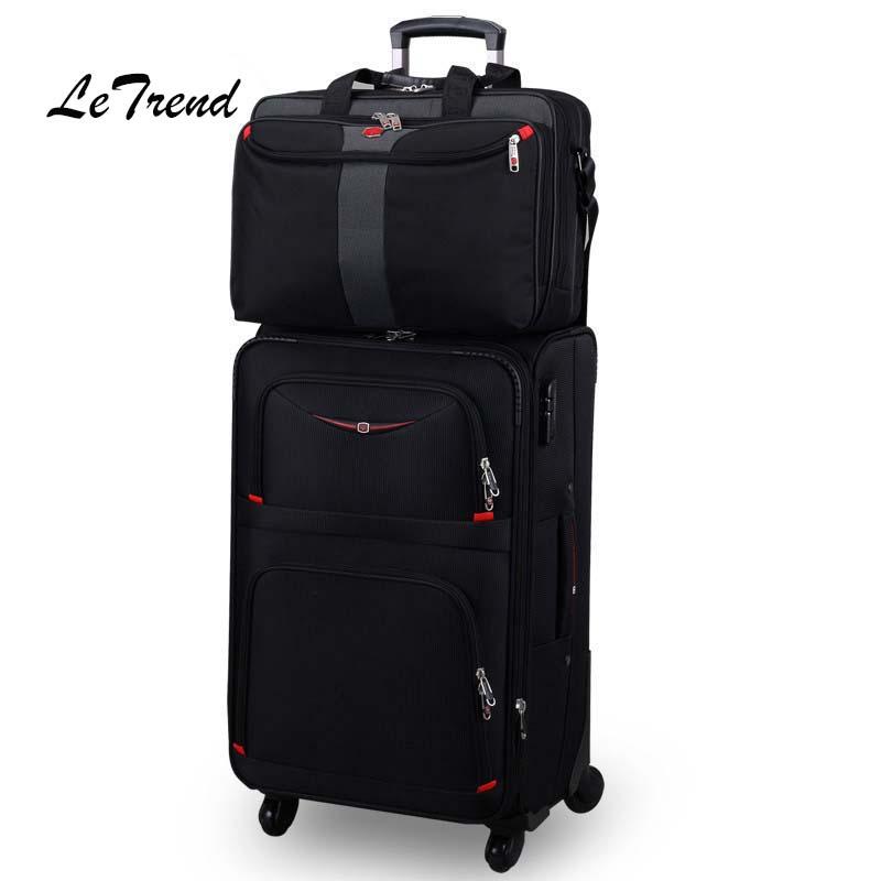 Letrend, equipaje rodante de negocios, juego de Spinner, bolsa de viaje con carrito para hombres, Oxford, 20 pulgadas, maleta para estudiante con ruedas, bolsa para ordenador portátil