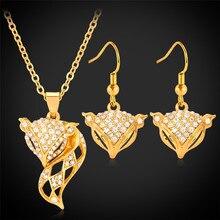 Ensembles de bijoux Collare pour femmes or/argent couleur strass en gros fantaisie renard collier boucles doreilles ensembles S131