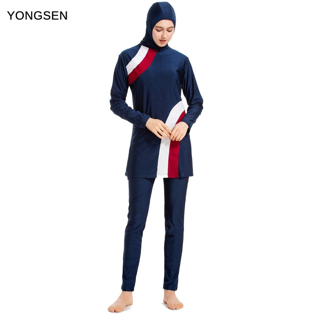 YONGSEN 2020 mujeres Burkinis el Islam 2 piezas islámica traje de baño modesto musulmán de baño de la cubierta completa de manga corta Hijab ropa de impresión