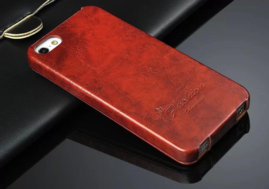 Óleo-cera couro vertical flip capa para apple iphone 5 5S se marca de moda original fundas requintado coque para iphone 6 s