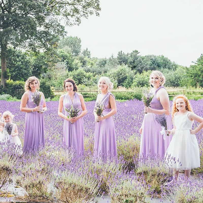 فستان إشبينة العروس طويل ، خزامي ، لف ، لانهائي