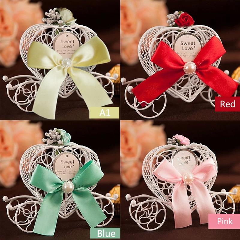 1 pieza romántica europea creativa de Hierro forma de corazón de calabaza carro boda favor caja de caramelos y regalos decoración de boda con suministros