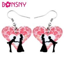 Bonsny – boucles doreilles en acrylique pour la saint-valentin, bijoux en forme de cœur pour femmes et filles, cadeau, accessoires, nouvelle collection