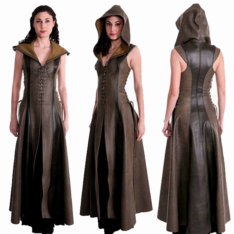 فستان من الجلد مع غطاء للرأس للنساء ، مثير ، برباط من القرون الوسطى ، تأثيري رينجر للبالغين ، أزياء الهالوين في العصور الوسطى