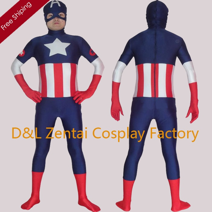 Envío Gratis, disfraz de superhéroe de cómics de Marvel, Capitán América, traje azul marino de LICRA Spandex Zentai, disfraz de Halloween XM1501