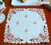 Napperon de Table en Satin carré   Napperon de luxe brodé en dentelle, couverture de Table à thé, napperon de maison, décoration fête cuisine de mariage