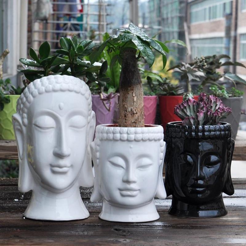 Buddha concrete flowerpot molds desk decoration garden planter dies Succulent plants pot holder moulds