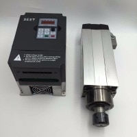 6KW Air-cooled Square Spindle Motor 18000rpm 380V 12.6A 300Hz ER32 Woodworking Spindle GDZ120x103-6 & 7.5kw VFD Inverter New