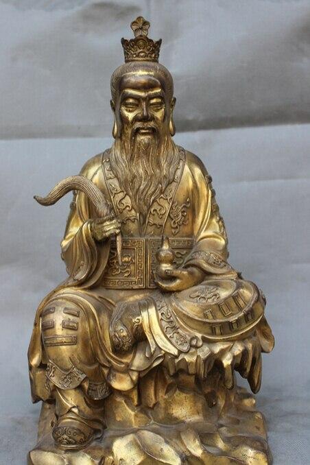 "song voge gem S3090 16"" Chinese Brass Gourd Taoism Taoist Alchemy Immortal LaoJun Buddha God Statue"