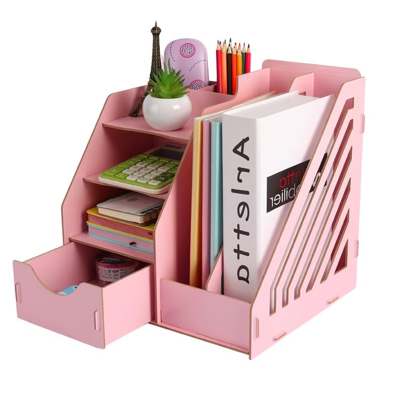 Suportes de papelaria de madeira multi uso desktop armazenamento suporte papel papelaria organizador com gaveta rack escritório material escolar