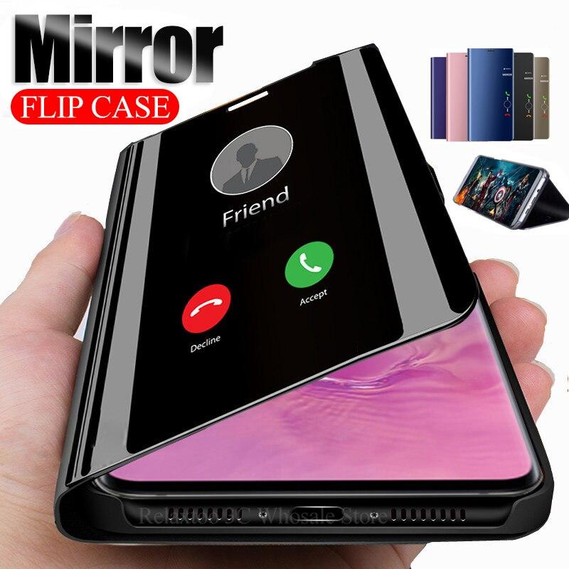 Зеркальный чехол для samsung galaxy s10 5G s9 s8 plus s10E, подставка для телефона, откидная крышка на samsung s 10 9 8 s9plus s10plus s8plus coque