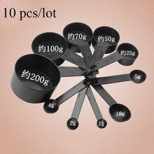 Tasse à mesurer en plastique 10 pièces/ensemble   De couleur noire et cuillère à mesurer, cuillère pour la cuisson du café thé outil de cuisine LSSJT