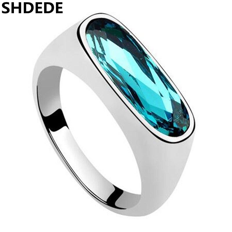 SHDEDE Azul Cristal de Swarovski Charme Designer de Jóias de Moda de Casamento E Anel De Noivado Para As Mulheres-6871