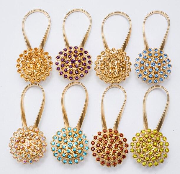 Goldene Mode Magnet Vorhang Feste Schnalle Krawatte Seil Europäischen Kreative Persönlichkeit Diamant Frühling Magnetische Vorhang Riemen Q243