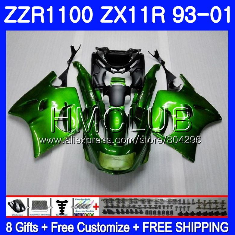 Kit de brillo verde para KAWASAKI NINJA ZX11 ZX-11R 93 01 ZX11R 93 94 95 96 97 0HM.5 ZZR1100 ZX 11R 1993, 1994, 1995, 1996, 1997 carenado