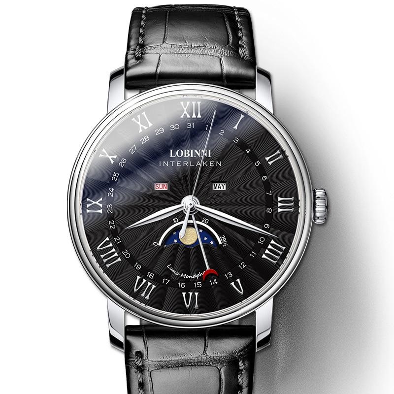 سويسرا العلامة التجارية الفاخرة ساعة رجالي LOBINNI الياقوت مقاوم للماء القمر المرحلة ساعة يابانية حركة الكوارتز متعددة الوظائف L3603M5