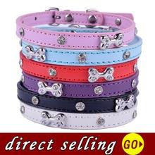Colliers de chien Chihuahua 10 pièces/lot   Rouge rose violet bleu noir blanc cuir strass, breloque à os ajustable, petit collier