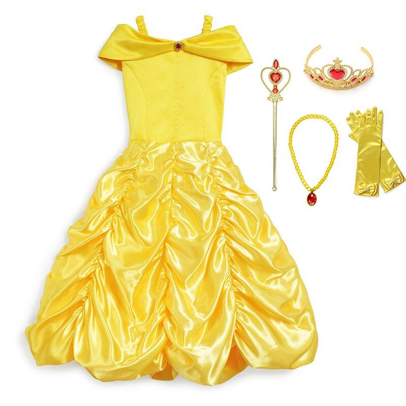 Vestido de princesa Bella para niñas, disfraz para niños, La Bella y la bestia, vestido de baile Bella, vestido elegante para chicas, Cosplay, vestido de fiesta de Halloween