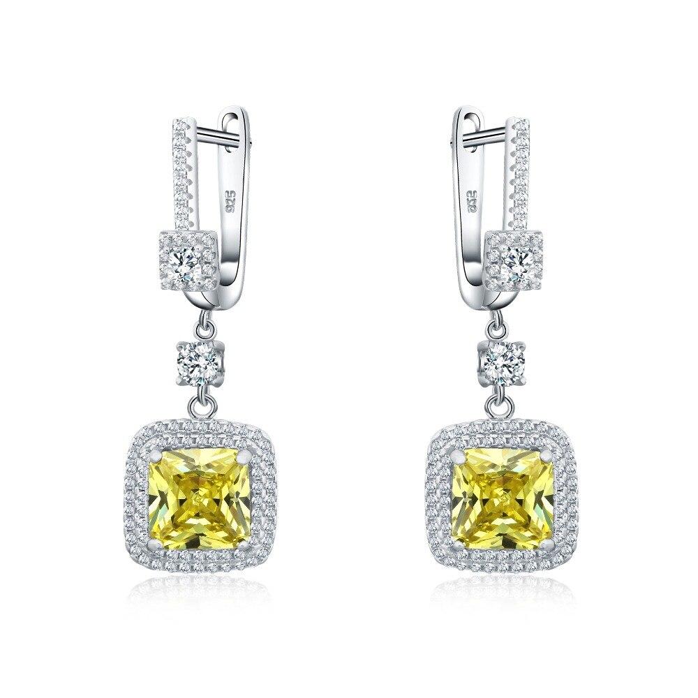 الأعلى مبيعًا صندوق هدايا للسيدات مصنوع من الفضة الإسترليني عيار 925 أقراط من CZ باللون الأصفر