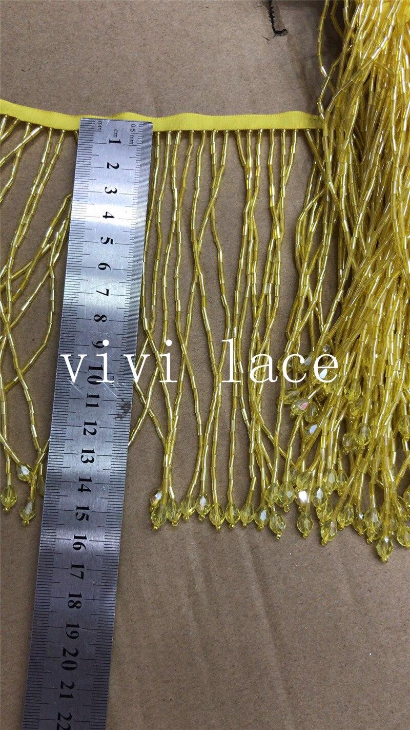 Yy053 nuevo 5 yardas amarillo cinta con cuentas flecos 15 cm de ancho para decoración vestido/diseñador de moda