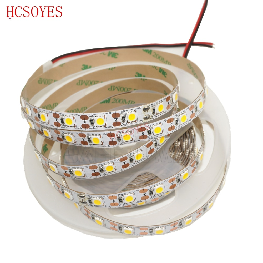 5m/lot DC5V IP20/ IP65 waterproof RGB /White/warm White Flexible led strip 5050 SMD Ribbon Adhesive tape TV Background lighting