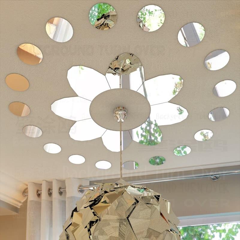 Naklejki ścienne z efektem lustra naklejki naklejki ścienne strona główna dekoracyjne kropki żyrandol podsufitowy lampa światła płatki kwiatów pierścień okrągły R031