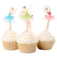 Décoration de gâteaux pour filles 72 pièces/lot   Drapeau de gâteau en dentelle, Design de Ballet danseuse pour filles, outils de décoration pour fête danniversaire pour enfants, décor de mariage