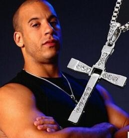 New Fast and Furious 7 Moive Cross Tourette Necklace Dominic Toretto Pendant For Men