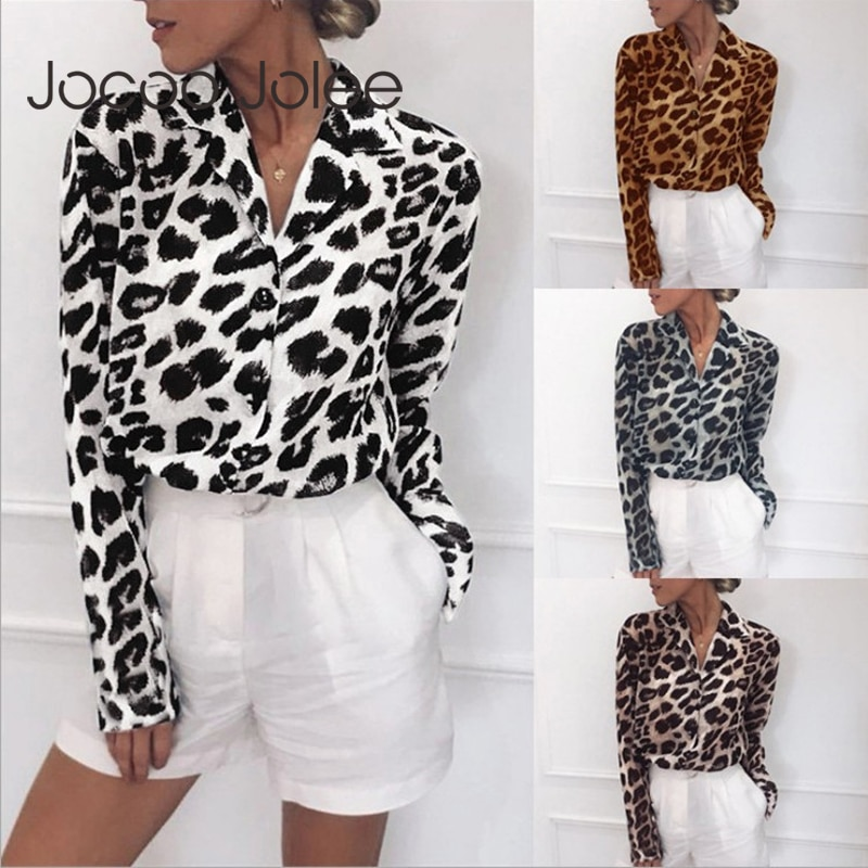 Chiffon Blouse Long Sleeve Sexy Leopard Print Blouse Turn Down Collar Lady Office Shirt Tunic Casual
