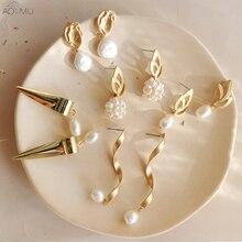 Женские матовые серьги AOMU, длинные серьги-капельки в стиле барокко с отверстиями из металла и золотого натурального пресноводного жемчуга