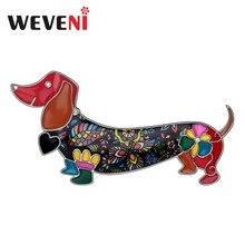 WEVENI alliage émail sourire teckel chien broches vêtements écharpe broche mode Animal de compagnie bijoux pour femmes filles cadeau accessoires