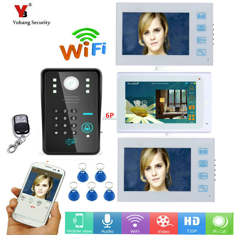 """Yobang segurança dhl 7 """"3 monitores brancos com fio/sem fio wi fi telefone da porta de vídeo campainha intercom sistema com 5pcs senha rfid"""