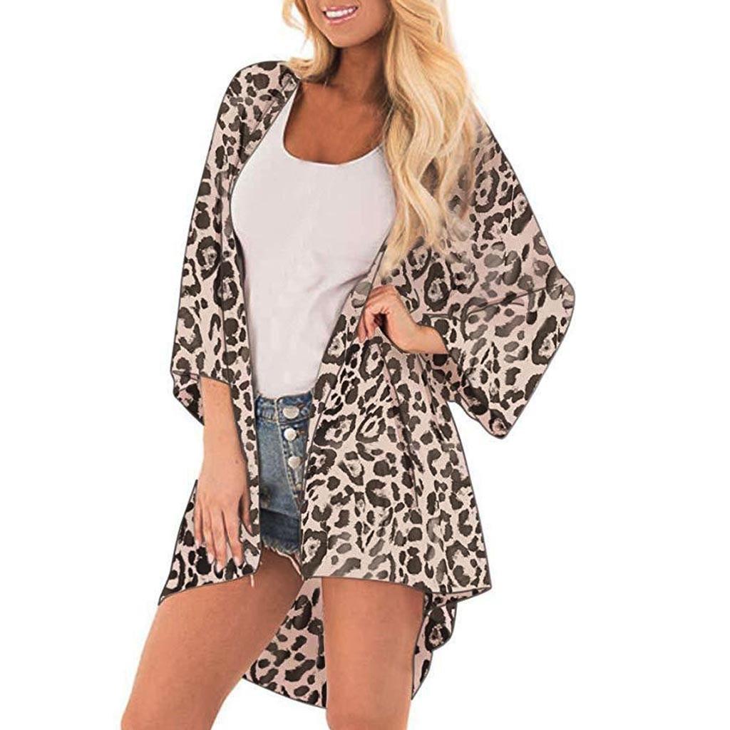 Tops y blusas para mujer de moda con estampado de leopardo, blusa informal, Tops, Kimono, cárdigan, capas, blusas para mujer