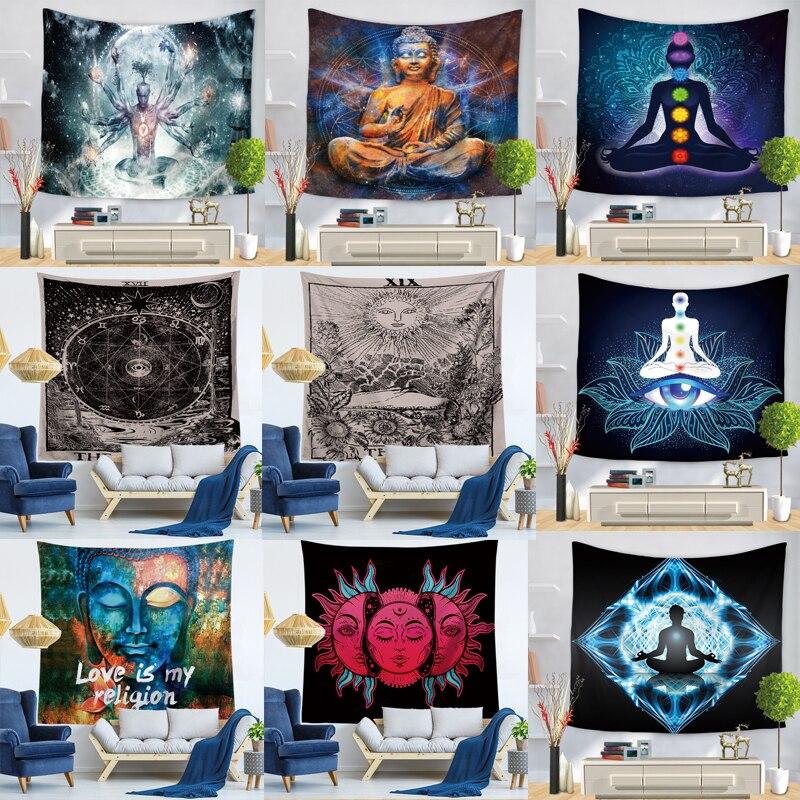 Indische Buddha Statue Tapisserie Wand Hängen Wand Tuch Chakra Wandteppiche Psychedelic Yoga Teppich Hause Dekoration